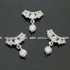 5 PCS Silver Alloy Zircon 3D DIY Nail Art Rhinestone Decoration #EH-352