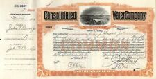 Consolidated Water Co of Utica, New York - Stock Certificate