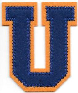 """2 1/2 """" Grand Bleu Orange Bloc Varsity Letterman's Lettre U Feutre Patch"""