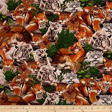 Big Cat Fabric Sleeping Tiger Cheetah Lion Timeless Treasures Cotton Fat Quarter