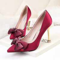 Womens Bow-knot Pointy Toe Pumps High Stiletto Heels Party Sexy Prom Work Shoes