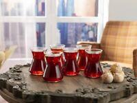 LAV Traditional Turkish Tea Glasses Set of 6,Teacups Set, 3.5 oz (105 cc)