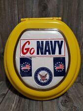 Yellow Go Navy Custom Oval Toilet Seat