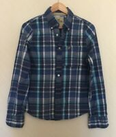 Ladies Hollister blue checked long sleeve shirt size S (8/10) <TT1008