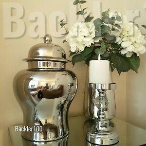 Large aged silver tone GINGER JAR home decor display ornament ceramic