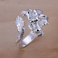 Free shipping wholesale sterling solid silver fashion jewelry dragon Ring XSR054