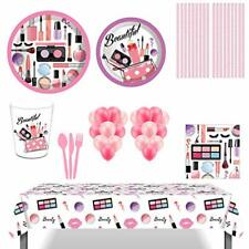 SPA Makeup Party Supplies, 85Pcs Spa Makeup Disposable Tableware with SPA Makeu