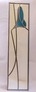 10x40cm Rennie Mackintosh style stained glass effect mirror Art Deco lily