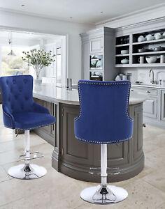 CGC Blue Velvet Chrome Stud Button Vintage Chaise Adjustable Barstool Tall Chair
