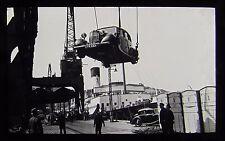 Glass Magic Lantern Slide CAR BEING LOADED ON A SHIP C1930 PHOTO CARS