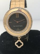 Van Cleef & Arpels Charms Rose Gold Diamond Bezel Brown Dial Bracelet Watch New