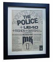 POLICE+MILTON KEYNES BOWL+POSTER+AD+RARE ORIGINAL 1980+FRAMED+FAST GLOBAL SHIP