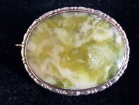 Silver & green moss agate vintage Art Deco antique oval brooch