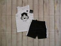 Okie Dokie Toddler Boys 2 Piece Sleeveless Shorts Set Size 3T Black White Tiger