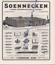 BONN, Werbung 1916, F. Soennecken Schreibwaren-Fabrik Feder Füller Tintenfass