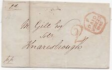 * 1845 RED PREPAID HANDSTRUCK 2 LONDON TO M GILL AT KNARESBOROUGH YORKS WRAPPER