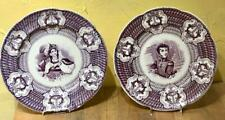 "Pair of Antique Staffordshire Purple Transfer Plates, ""La descada de Matancas"""