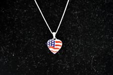 "Sterling Sterling 18"" Chain With American Flag Heart Pendant"