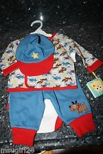 NWT 0-3 mos happi boys 4 pc dog set- one piece, top, pants & hat blue white red