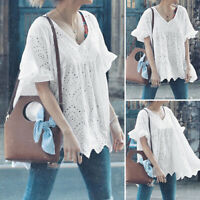 Women Plus Size V Neck Flared Sleeve Tops Plain Casual Shirt Hollow Blouse Tee