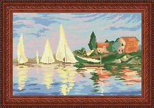 Needlepoint tapestry canvas.Regatta at Argenteuil by Claude Monet Gobelin S34