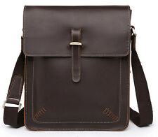 Vintage Men Full Grain Real Leather Brown shoulder bag Messenger Briefcase M133#