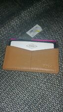 FOSSIL Card Holder black and tan brown leather  Designer Wallet BNWT