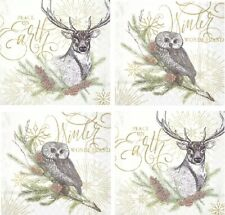 4 Different Paper Napkins, for Party, Lunch, Table, Decoupage, Craft, Owl & Deer