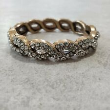 J.Crew Twisted Bracelet Antiqued Gold Clear Rhinestone Pave Crystals Hinged EUC