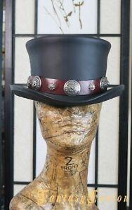 Rock n Roll Top Hat / Western Desperado Leather Hat / Steampunk Leather Top Hat