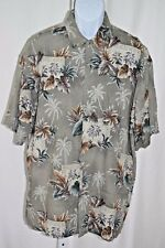 "Hollis River Palm Tree Frond Mens Large 50"" Green Brown Button Front Camp Shirt"