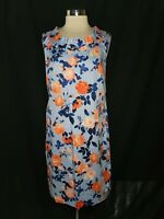 NEW TALBOTS Size 14 Shift Dress Blue Coral Floral Stretch Cotton Knee Length