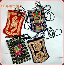 50 Pcs Indian Embroidered Work Mobile and Money Velvet Purse Best Hand Bag Pouch