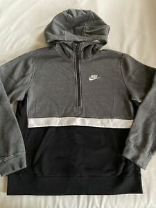 Nike Half-Zip Hoodie Sweatshirt Boys XL Black/Gray/White