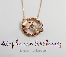 Rose Gold Plated Sterling Silver Crystal CZ Butterfly Pendant Necklace Gift NEW!