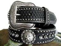 Nocona Western Mens Belt Leather Star Concho Calf Hair Black 2465801