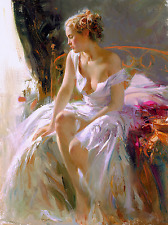 """Pino Daeni,Hand-painted Portrait oil Painting On Canvas 24x36""""#037/Unframed"""