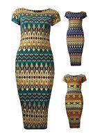 Womens Foil Aztec Print Midi Dress Cap Sleeves Blue Teal Rust Ladies New Sz 8-14