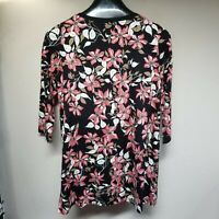 J.Jill Wearever Ribbed-Trim Tunic Black Pink Botanical Floral Top Small NWT $89