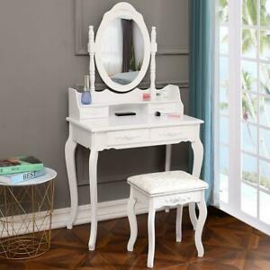 4 Drawers With Mirror Makeup Vanity Table Set White Bedroom Dressing Furniture
