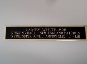 James White Patriots Nameplate For A Football Jersey Display Case 1.5 X 6