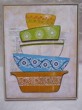 "Lemon Meringue Pie Recipe Bowls Kitchen 3D Framed Artwork 14.5x11.5"" Hardboard"