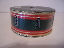 5 YD GREEN AND RED WIRED RIBBON CRAFTS CHRISTMAS DECORATION HOLIDAY WREATHS
