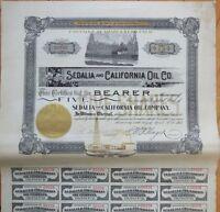 'Sedalia & California Oil Co.' 1902 Oil Stock Certificate - CA