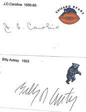 1956-65 J.C Caroline Chicago Bears Football Signed Index Card Illinois
