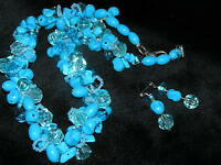 Estate DEMI Turquoise Plastic Nugget & Bead Cluster Necklace & Earrings