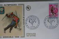 ENVELOPPE PREMIER JOUR SOIE 1968 J.O. D'HIVER GRENOBLE