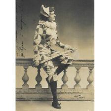 GIRL CLOWN harlequin carnival costume RPPC 1902