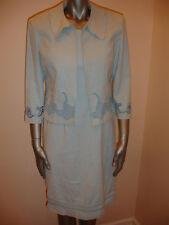 PLAZA SOUTH WOMENS JACKET BLAZER DRESS SUIT SET size 8 BLUE EYELET STUNNING