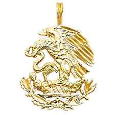 14k Yellow Gold Detailed Diamond Cut Designer Mexican Eagle Image Charm Pendant